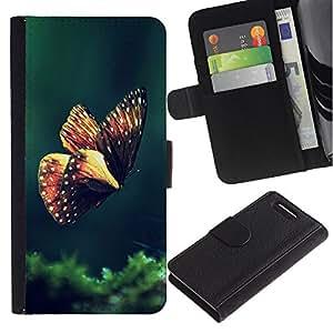 KingStore / Leather Etui en cuir / Sony Xperia Z1 Compact D5503 / Mariposa de Primavera de la ma?ana Verde Naturaleza
