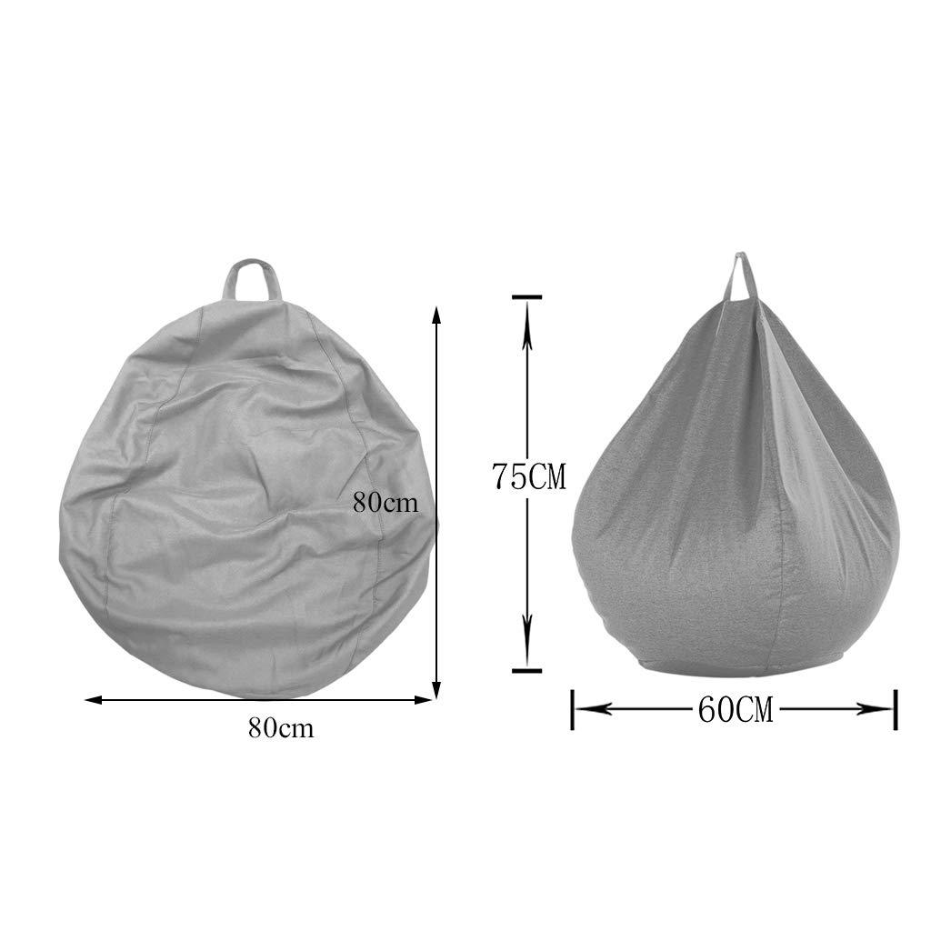Baoblaze 2X Bean Bag Cover Childrens Chair Soft Plush Toy Organizer Beanbag Gray