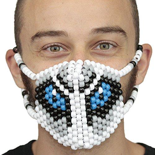 """Masque Chirurgical Kandi """"Grand Méchant Loup"""" - Kandi Gear, masque pour rave party, masque pour Halloween, masque de perle pour festivals de musique et fêtes"""