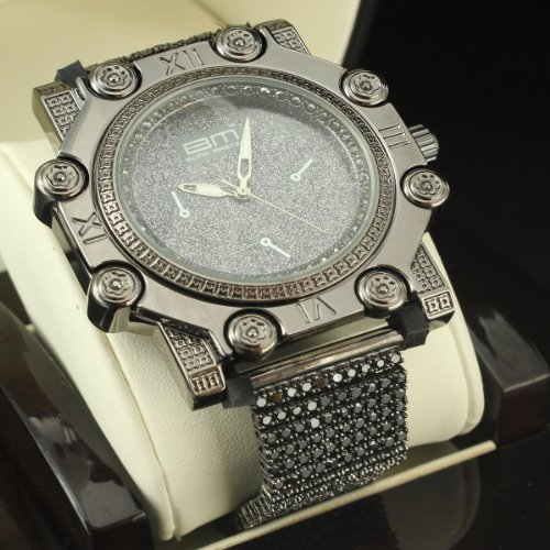 Blinged Out Grey Face Black Cubic Zircon Designer Icy Hip Hop King Custom Watch by Diamond & Co