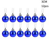 Hot Tuscom 12Pcs/Pack 3cm Christmas Xmas Tree Ball, Glitter Baubles Balls for Home Party Garden Wedding Ornament Decorations (7 Colors) (Blue)