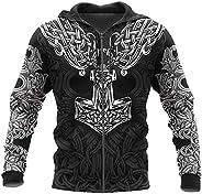 Feinny Thor's Hammer Zip Hoodie, Viking Tattoo 3D Printed Long Sleeve Pullover Sweatshirt, Loose Jacket wi