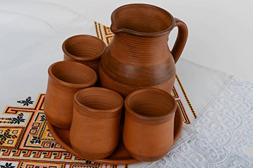 Set Of Handmade Terracotta Clay Glasses 4 Pieces Plate And Jug - Great Gift Idea By ()