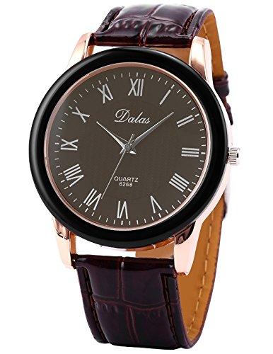 AMPM24 Men's Dress Quartz Watch, Rose Gold Bezel Roman Brown Dial Analog Leather Casual Fashion, Wrist Watch for Girl Lady Women WAA453 Gift (Brown Roman Dial)