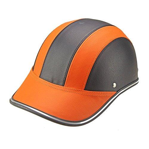 Helmet Ladaris Leather Motorcycle Goggles Vintage Garman Style Half Motorcycle Biker Cruiser Scooter Touring Harley (Summer Orange)