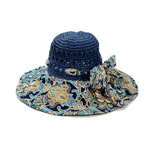 Cutewing Sun Straw Hats for Women with UV Protection Wide Floral Print Brim Foldable Beach Hat for Girls with String and Large Bowknot.