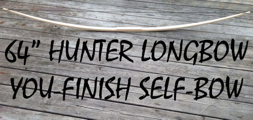 Cheap 55lb 64″ You-Finish Traditional Hickory Longbow! Competition or Hunting Bow! Wood Archery!