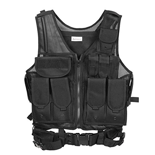Homdox New Tactical Vest for Hunting Field Survival Training w/ Tool Holster Pouches Cover, Black