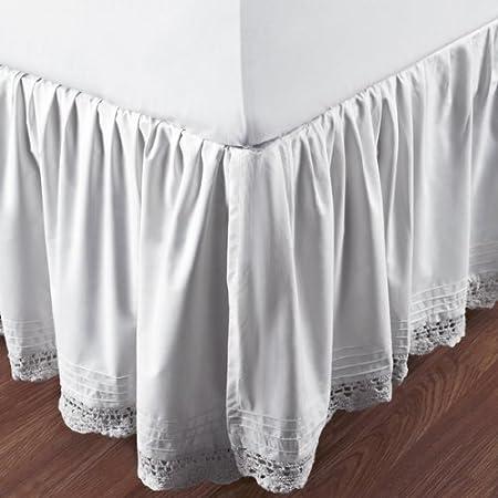 Bianca Crochet color blanco Full cama falda: Amazon.es: Hogar
