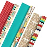 Hallmark - Papel de regalo reversible, Kraft Birthday, 1