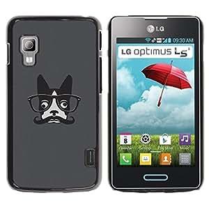 PC/Aluminum Funda Carcasa protectora para LG Optimus L5 II Dual E455 E460 Hipster French Bulldog Art Moustache Glasses / JUSTGO PHONE PROTECTOR
