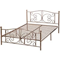 BestMassage Metal Platform Bed Box Spring Replacement Foundation with Headboards & Hevay Duty Steel Slats, Twin