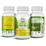 Potent Vegan Omega 3 Supplement w/ Essential Fatty Acids, Vitamin E, DHA & EPA - Vegetarian Algae based & Non GMO Time-Release Capsules - Improve Eye, Heart, & Brain Health - Better than Fish Oil