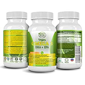 Potent Vegan Omega 3 Supplement w/ Essential Fatty Acids, Vitamin E, DHA & EPA - Vegetarian Algae based & Non GMO Time-Release Capsules - Improve Eye, Heart, & Brain Health - Better than Fish Oil