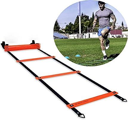 Escalera de agilidad multifunción de 2 piezas, juego entrenamiento velocidad juego de escalera peldaño fijo con bolsa de transporte, 6 m / 20 pies 12 pesados, entrenamiento adecuado para niños adultos: Amazon.es: Hogar