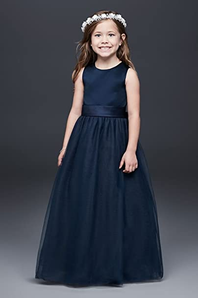 613fad74722 David s Bridal Satin Flower Girl Communion Dress With Tulle Skirt Style  S1038