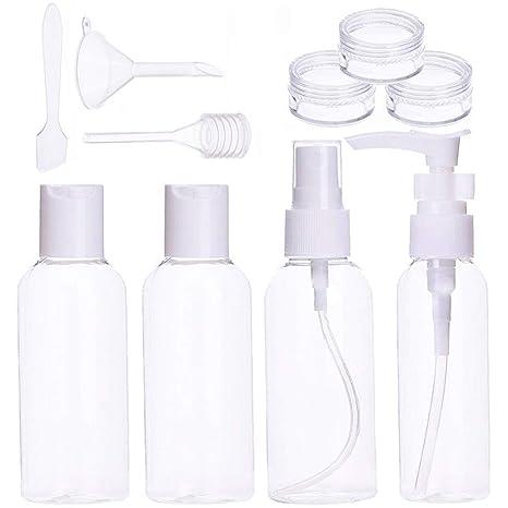 Botes Viaje Set Botellas De Avion Plastico Transparente Contenedores De Viaje Líquidos,10Piezas