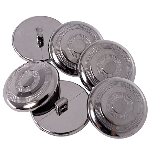 - ABS Metal Plated Shank Button - Circular Pattern with Dotted Texture - 40 Line - Gunmetal