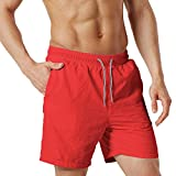 ChinFun Men's Board Shorts Swimwear Water Surfing Sports Shorts Pockets Red Size XL