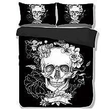 TRUST 100% 3D Black Skull Bedding sets Polyester Fully Reversible Modern Flower Skull Comforter Set, Queen Size, (King Size(3pcs))