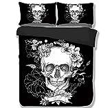 TRUST 100% 3D Black Skull Bedding sets Polyester Fully Reversible Modern Flower Skull Comforter Set, Queen Size, (Single (2pcs )size)