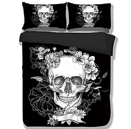 skull comforter set king Amazon.com: Trust 100% 3D Black Skull Bedding sets Polyester Fully  skull comforter set king