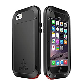 Love Mei Carcasa para iPhone 6/6 Plus, metal, Gorilla Glass, resistente al agua, antigolpes