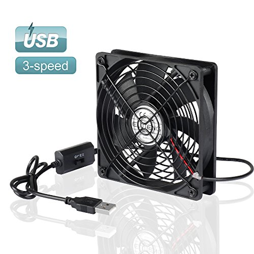 ELUTENG 120MM USB Mini Fan Computer 3 Speed 5V USB Fan Receiver Cooling Fan with Speed Control for Receiver DVR Playstation Xbox Computer 120 x 120 x 25mm (Component Console)