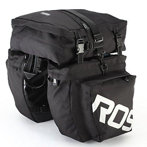 ROSWHEEL 3 in 1 Multifunction Bike Bag Bicycle Pannier Rear Seat Bag/Large Seat Bicycle Carrier Bag (Black) (1 Seat Bag)