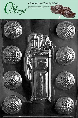 - Cybrtrayd S028 Golf/Caddy/Balls Chocolate Candy Mold with Exclusive Cybrtrayd Copyrighted Chocolate Molding Instructions