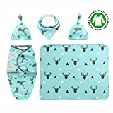 : Premium Set of 5Pcs - Adjustable Infant Baby Wrap (Sleeping Bag with Hat) + Newborn Baby Swaddle Blanket with Hat + Baby Bandana Drool Bib for Drooling and Teething - Receiving Blanket, Burp Cloth