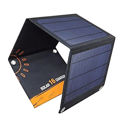 Portable Solar Panels Foldable Charger Lightweight Waterproof Outdoor Cell Phone Chargers 16W/2600mA with Dual USB
