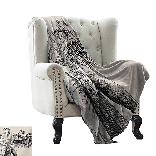 BelleAckerman Throw Blanket Jazz Music,Art with Jazz Saxophonist Playing at River Bank Palm Trees Bungalow Reflection,Beige Black Flannel Blankets Super Soft Warm Thick Blanket for Home 60