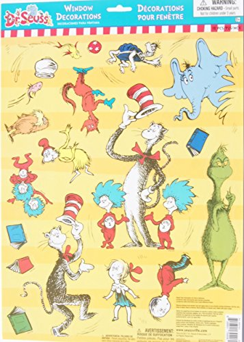 Dr. Seuss Themed Window Clings Decorations - 18 Pieces -