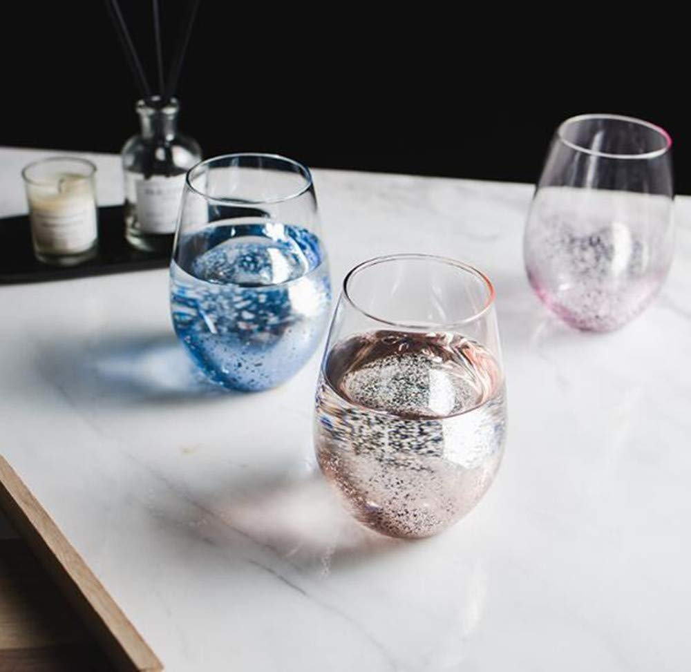 beer mug juice cup star sky big belly cup star sky egg cup European-style electroplating lead-free crystal glass cup heat-resistant cup pink 2 piece set red wine glass
