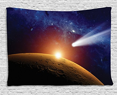 Ambesonne Outer Space Decor Tapestry, Comet Tail Approaching Planet Mars Fantastic Star Cosmos Dark Solar System Scenery, Wall Hanging for Bedroom Living Room Dorm, 80 W X 60 L, Blue and Orange by Ambesonne