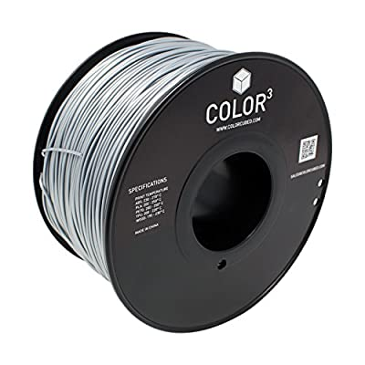 ColorCubed ABS Premium 3D Printer Filament 2LB Spool, 1.75mm, Silver