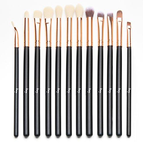 Qivange Eye Brush Set, Cosmetics Eyeliner Eyeshadow Blending Brushes (12pcs, Black with Rose Gold)