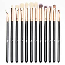 Qivange Eyeshadow Brushes, Vegan Cosmetic Eyebrow Eyeliner Eyeshadow Blending Makeup Brush Set(12pcs, Black with Rose Gold)