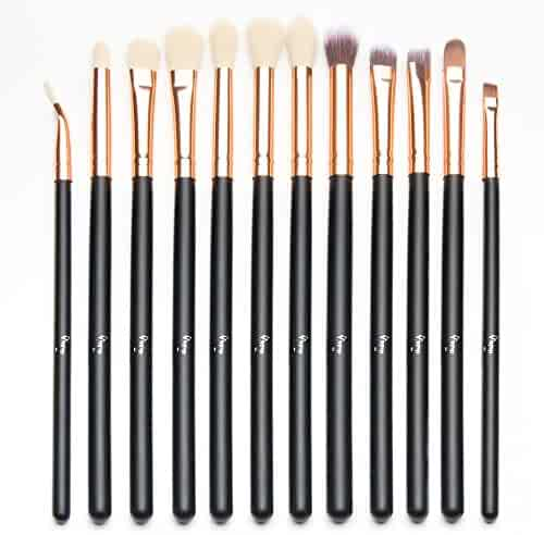 Qivange 12pcs Eye Brush Set, Cosmetics Eyeliner Eyeshadow Blending Brushes (Black with Rose Gold)