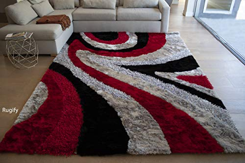 LA 8'x10' Feet Red Black Silver Grey Gray Two Tone Colors Abstract Shag Shaggy Area Rug Hand Woven Tufted 3 Dimensional Yarns Thick Pile Fluffy Fuzzy Furry Flokati Sale (Signature - Shag Hand Woven Rug