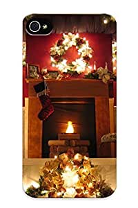 For Iphone Case, High Quality Christmas Fireplace Fire Holiday Festive Decorations For Iphone 4/4s Cover Cases / Nice Case For Lovers