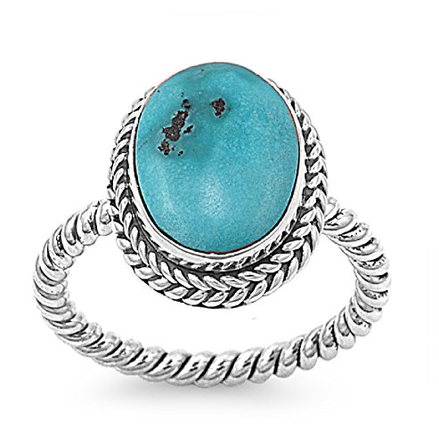 Oval Twisted Rope - Oval Simulated Turquoise Stone Twisted Rope Ring 925 Sterling Silver Size 7