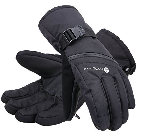 Andorra Men's Cross Country Textured Touchscreen Ski Glove with Zippered,Black,L