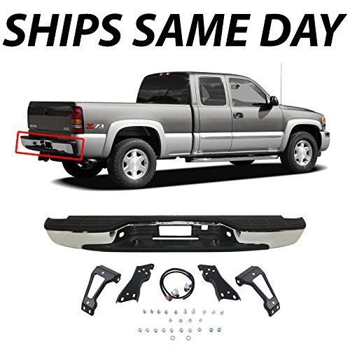 MBI AUTO - NEW Complete Chrome Rear Step Bumper Assembly For 1999-2006 Chevy Silverado GMC Sierra 1500 Truck (Truck Bumpers For 2500 Hd)