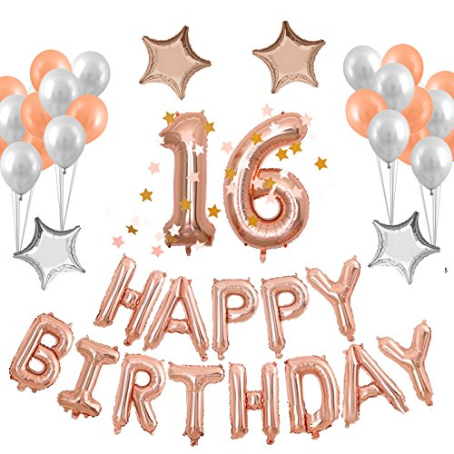 40inch Rose Gold Birthday Number Balloon with Happy Birthday Banner and Latex Balloons Mylar Stars for Birthday Party Decorations Supplies … (Rose16) for $<!--$17.99-->