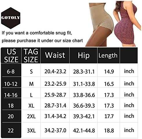 Gotoly Women Body Shaper High Waist Butt Lifter Tummy Control Panty Slim Waist Trainer