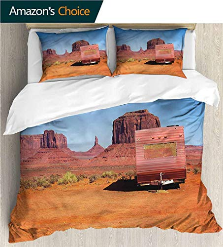 (Home Duvet Cover Set,Box Stitched,Soft,Breathable,Hypoallergenic,Fade Resistant Print Quilt Cover Set White Queen Pattern Bedding Collection-Primitive Country Van in Desert (90