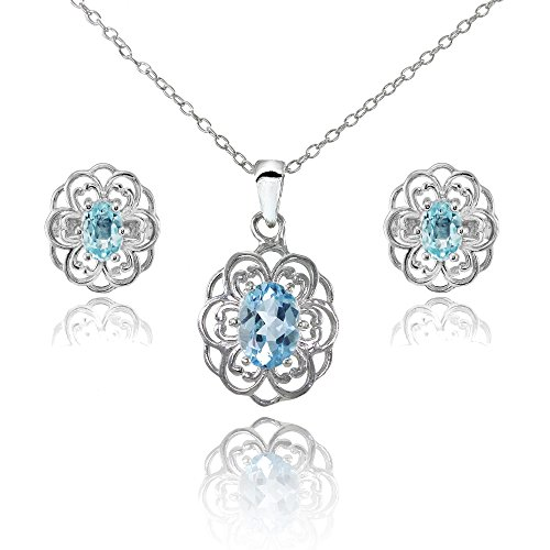 (Sterling Silver Blue Topaz Oval Filigree Flower Pendant Necklace and Stud Earrings Set)