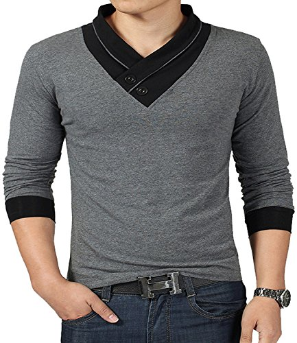 YTD 100% Cotton Mens Casual V-neck Button Slim Muscle Tops Tee Short Sleeve T- Shirts (US Small, Long Sleeve Gray)